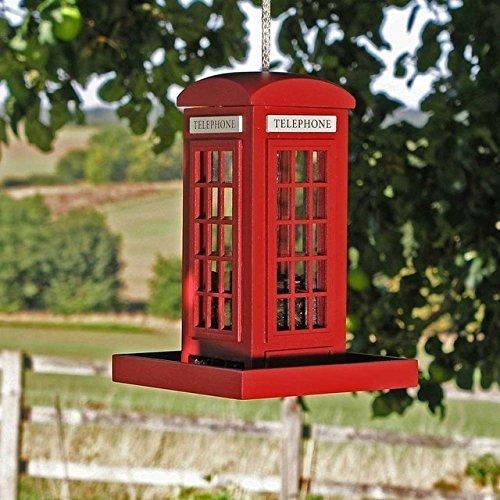 Garden Mile Rote Telefonzelle Garten Vogel Zubringer, Einzigartiges Design Futterstelle Für Vögel Station Holz Zum Aufhängen Vogel Zubringer Für Kleine Vögel Neuheit Telefonzelle Futtersäule