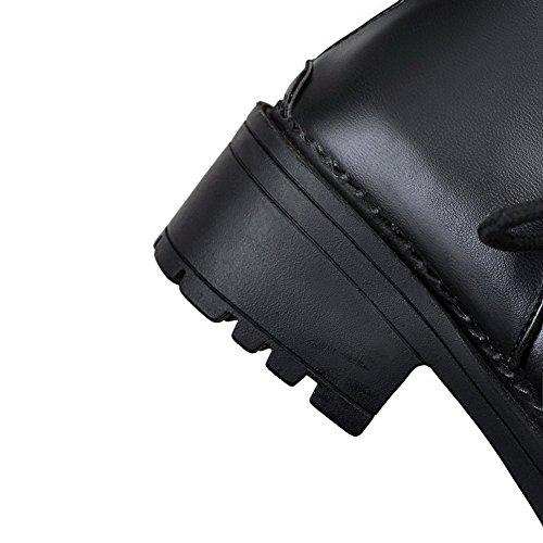 AgooLar Femme PU Cuir Rond à Talon Correct Zip Bottes Noir