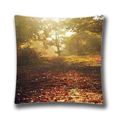 Bed Of Leaves Autumn Theme Decorative Pillow Cover, 16X16 inches Square Pillowcase AnasaC28280