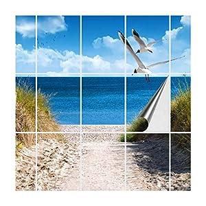 FoLIESEN Fliesenaufkleber für Bad und Küche | Fliesenposter Ostseeküste | Fliesengröße 15x20 cm (LxB) | Fliesenbild 18 TLG. - 90x60 cm (LxB)