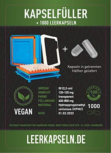 Kapselfüller + 1000 Leerkapseln| Platz für 100 Kapseln | Gr 00 | Kapselfüllgerät zum befüllen von Kapseln | getrennte Kapselhälften [kein vorheriges öffnen nötig] vegan HPMC(Kapselfüller inkl. 1000)