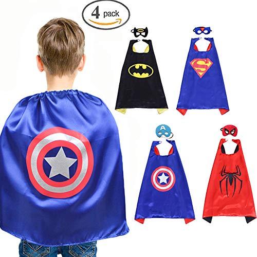 Superhelden Dress up Kostüm Spielzeug Superhelden Cape und Maske 4 Set für Kinder Jungen Party Geburtstag ()