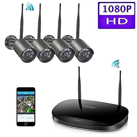 (1080P) Ctronics Drahtloses Überwachungskamera-Set 2.4G HD Wireless NVR System Inklusive 4 Stück drahtlosen wasserfesten 1080p Kameras mit Nachtsicht-Funktion für die Montage im Freien(NO HDD)