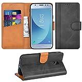 Adicase Galaxy J3 2017 Hülle Leder Wallet Tasche Flip Case Handyhülle Schutzhülle für Samsung Galaxy J3 2017 (Dunkelgrau)