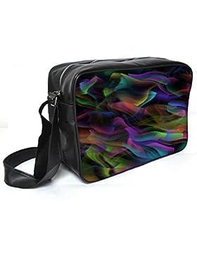 Snoogg Colorful Smoke 2431Leder Unisex Messenger Bag für College Schule täglichen Gebrauch Tasche Material PU