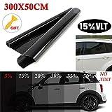 BonTime Pellicole per vetri oscuranti per vetri Auto 15% / 20% / 25% / 35% / 50% (300 * 50cm)