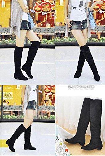 Gaorui Sexy Overknee, Stretch, Suede Damen Overknee-Stiefel mit mittelhohem Absatz Braun