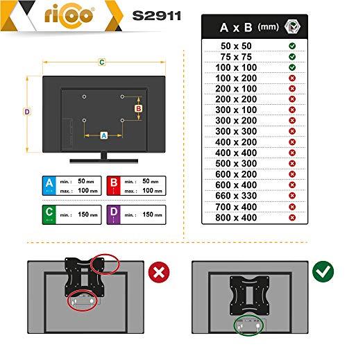RICOO Monitor Wand-Halterung Schwenkbar Neigbar S2911 Monitor-Halter Wandhalterung-TV LCD LED Wandhalter fuer Flach-Bildschirm PC-Monitor 43-49-54-61-68cm / 17′ 19′ 22′ 24′ 27′ Zoll | VESA max. 100 x 100 universell | Wandabstand nur 68 mm | - 6