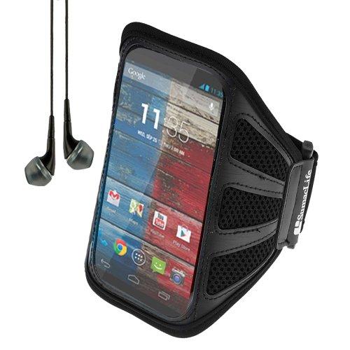 SumacLife Schutzhülle verstellbar Metallgriff Outdoor Sportarmband Schutzhülle für Motorola Moto X/Moto G/Motorola Droid X/Motorola Droid Razr (schwarz) + schwarz Kopfhörer mit Mikrofon von - Razr Fall Motorola