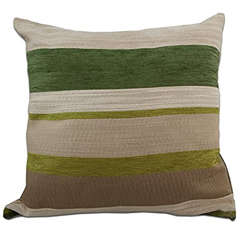 Just Contempo Chenille Striped Cushion Cover, Green, 17x17 inches