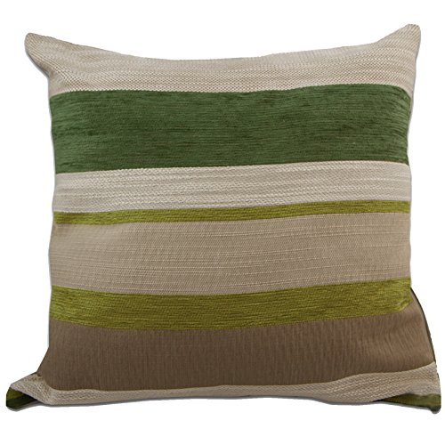 Just Contempo - Federa per cuscino decorativo per letto o divano, in ciniglia, con motivo moderno a righe, 43 x 43 cm, Poliestere, verde (beige tortora panna), 1 x fodera cuscino 17 x 17 inches