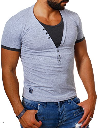 Carisma Herren double Look T-Shirt deep v-neck tiefer V-Ausschnitt slim fit Kontrast Optik tee, Grösse:M;Farbe:grau-dunkelgrau (Casual V-neck T-shirt)
