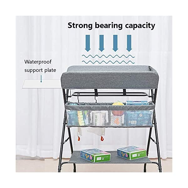 Baby Changing Table, Multifunction Massage Table with Storage, Diaper Station Collapsible GUYUE Storage: Storage basket, bottom shelf. Steel pipe + Oxford cloth + Waterproof support plate.(The diaper table has a bearing capacity of 20kg.) Size- As shown, 74x63x93cm(1cm=0.39 inch) Suitable for babies weighing less than 20kg. 4