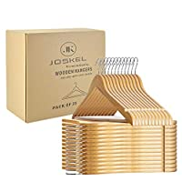 JOSKEL® Wooden Coat Hangers- Premium Pack of 25 Space Savers Clothes Hangers made with Natural Wood with Non Slip Trouser bar, Extra Smooth Finish, Strong Shoulder Notches