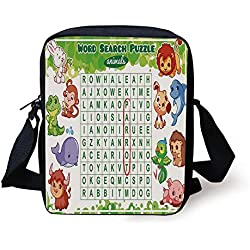 Ytavv Word Search Puzzle,Educational Game for Kids Decorated with Cute Animals Worksheet Print,Multicolor Print Kids Crossbody Messenger Bag Purse