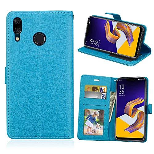Asus Zenfone 5 2018 Hülle, SATURCASE Luxus Glatt PU Lederhülle Magnetverschluss Brieftasche Standfunktion Handy Tasche Schutzhülle Handyhülle Hülle für Asus Zenfone 5 ZE620KL/Zenfone 5z ZS620KL (Blau)
