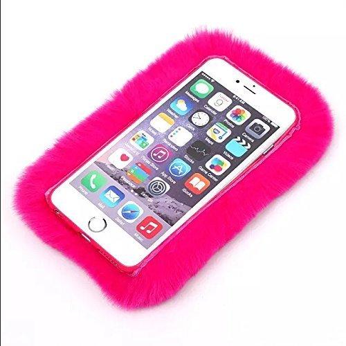 youmai Extreme Deluxe Chaîne Cristal Diamant Bling 3D Petit Nœud d'hiver en fourrure douce et chaude pour Apple iPhone 6/6S Plus Rose rouge