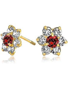 Bling Jewelry Kinder 14K Gold simulierten Granat CZ Schraube wieder Blume Bolzen