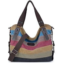 Bolso de Mujer,Coofit Bolso Bandolera Hobo Diseño Multicolor Bolsos lona(Actualizar bolso mujer)