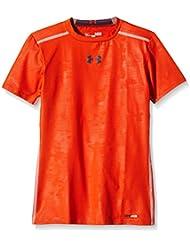 Under Armour Top HG Sonic Fitted Short Sleeve - Camiseta de running para niño, color naranja, talla XL
