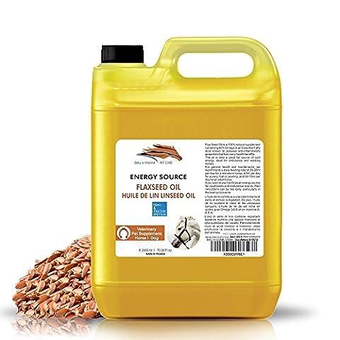Huile de Lin VET pour Chevaux, Chiens et Animaux de Compagnie - Aliment complémentaire pour chevaux / chiens (2000 ml)