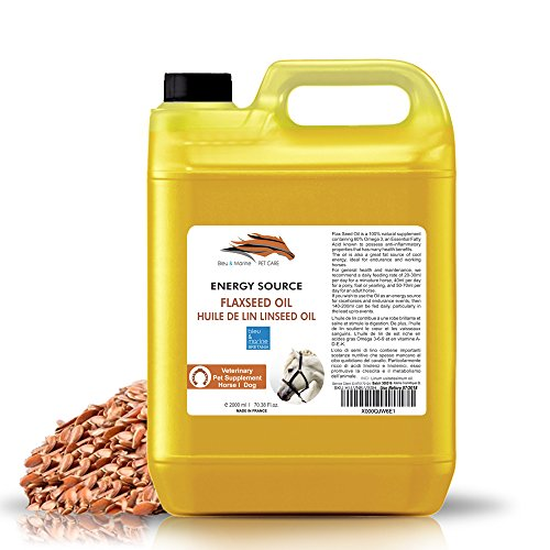 Aceite de Linaza para Caballos y Mascotas 2000 ml 100% Natural Suplemento para la salud y la forma