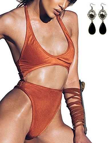 Sitengle Donna 2 Pezzi Bikini Coordinati Velluto Costumi da Bagno Halterneck Bikinis Swimsuit (Billabong Ragazze Bikini Top)