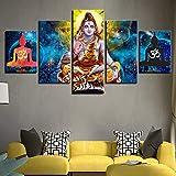 mmwin Toile Photos Affiche Modulaire 5 Pièces Dieu Hindou Seigneur Shiva s HD Imprimé Art Cadre Décoration Maison Salon Mur...