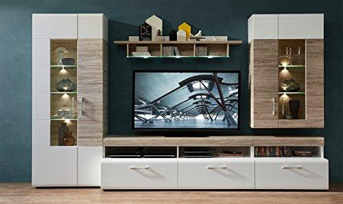 Wohnzimmerschrank, Wohnwand, Schrankwand, Anbauwand, Fernsehwand, Wohnzimmerschrankwand, Wohnschrank, weiß, Hochglanz, Eiche-Nb., Beleuchtung