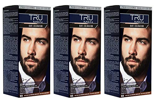 3x TRU MEN Bart-Coloration 80-Natur Schwarzbraun Professional (3´er Pack)