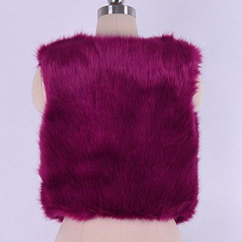 iShine Casual Veste sans Manches Gilet en Imitation Fourrure pour Femme Fille Mode Gilet Court Chaud Hiver Automne Printemps Cardigan avec V-col Unicolore Rouge vineux