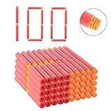 Riva776Yale 100 Stück Foam Dart Refill Bullet for Nerf N-Strike Elite Series Blasters Spielzeugpistole,7.2cm Foam Dart-Orange + Rot