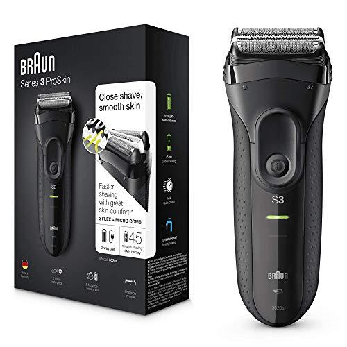 Braun Series3 ProSkin 3020s Elektrorasierer, wiederaufladbarer Rasierer Herren, schwarz