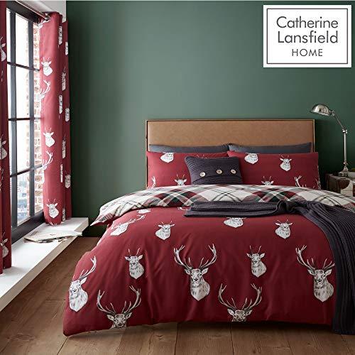 Catherine Lansfield Munro Bettwäsche-Set für Einzelbett, kariert, pflegeleicht, Rot (Plaid Bettwäsche)