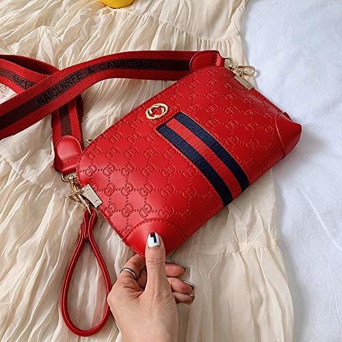 Bedolio Embossed Shell Bag Mode Kontrast Schulter Messenger Bag Handschellen Clutch Mini Bag, rot -
