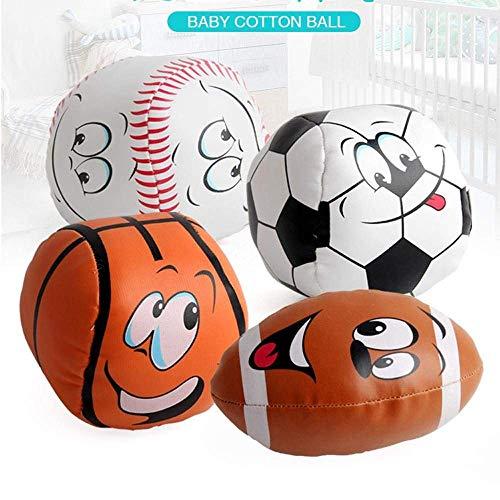 AiBarle Mini-Plüsch-Sportbälle für Kinder, 10,2 cm, 4 Stück (Fußball, Baseball, Basketball, Fußball), gedrückt
