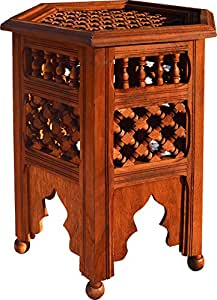 table basse musharabia marocain t te hexagonale. Black Bedroom Furniture Sets. Home Design Ideas