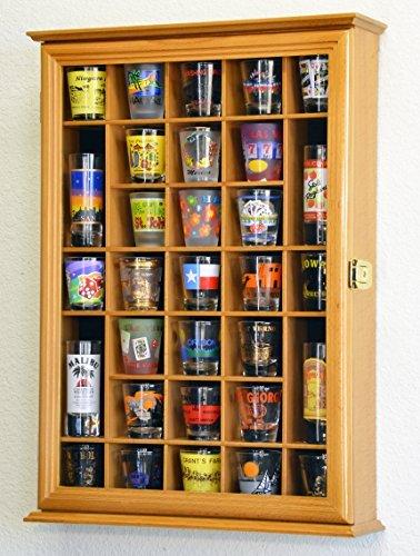 31 Shot Glass Shotglass Shooter Display Case Holder Cabinet Wall Rack -Oak by sfDisplay.com, Factory Direct Display Cases -