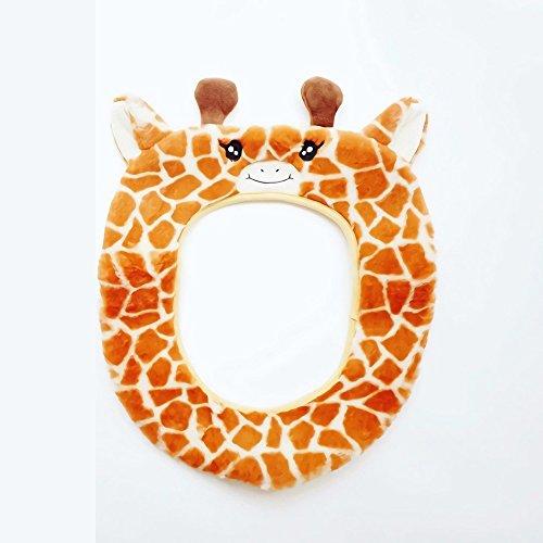 Gifts treat coprisedile per wc accessori per toilette stile animale carino morbido peluche scaldabagno (giraffa)