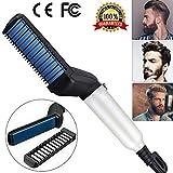 LOBKIN Peine electrico para cabello y barba,con funcion alisadora, rizadora, plancha, Herramienta totalmente multifuncional para el cabello y barba de los hombres