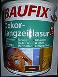 Baufix Dekor-Langzeitlasur für alle Nagelhölzer und Harthölzer ideal für innen und aussen. Witterungs- und UV- beständig Farbe: Nussbaum Inhalt: 5 Liter = ca. 50 m² NEU