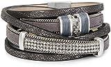styleBREAKER Vintage Wickelarmband mit Strass, Gliederkette und Magnetverschluss, 3-Reihig, Armband, Damen 05040024, Farbe:Antik-Dunkelgrau