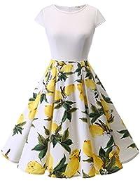 e1371cbce5302 Homrain Damen 1950er Vintage Rundhals Cocktail Party Casual Rockabilly Kleid