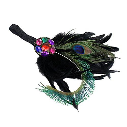 Feder Schwarzer Kostüme (Gazechimp Damen Stirnbänder Frauen Feder Stirnband Haarband Haarschmuck Kopfschmuck Haar Boho Federn Haarbänder -)