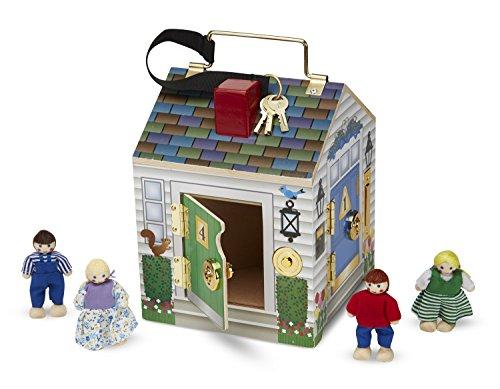 Melissa & Doug Take-Along Wooden Doorbell Dollhouse – Doorbell Sounds, Keys, 4 Poseable Wooden Dolls