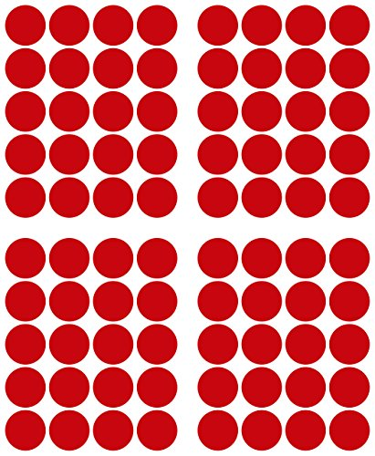 Puntos adhesivos 80 unidades, 40 mm, color rojo, de lámina de PVC, impermeables, puntos de marcación adhesivos