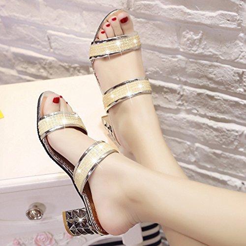 ZYUSHIZ Weibliche Sandalen Das erste Feld Open Toe Bold Text mit High-Heel coole Hausschuhe 35EU