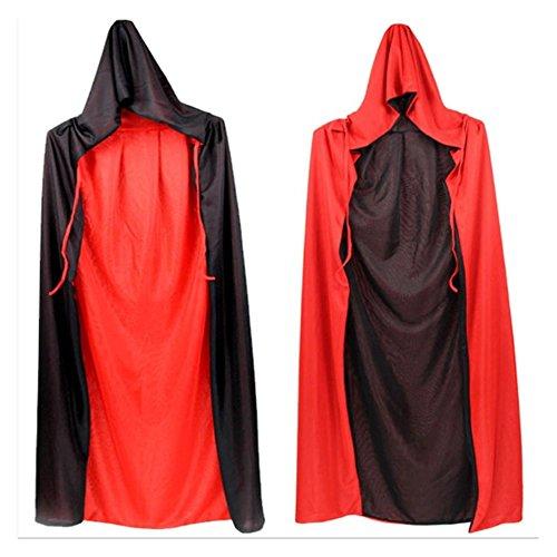 Vampir Kostüme Holloween (GWELL Erwachsene Herren Damen Wendeumhang Doppelseite Umhang für Kostüm Cape mit Kapuze für Halloween Weihnachten Party Cosplay Rot/Schwarz 140)