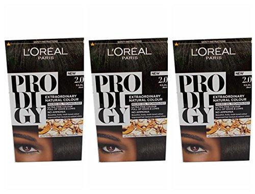 L' Oreal prodigio Hair Colour Dye 2.0kajal nero (confezione da 3)