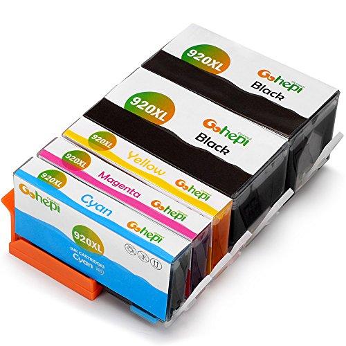 Preisvergleich Produktbild Gohepi 920XL Kompatibel für Druckerpatronen HP 920XL 920, 2 Schwarz/Blau/Rot/Gelb 5er-Pack Arbeit mit HP Officejet 6500 7500A 6500A Plus 6000 7000 7500 Patronen